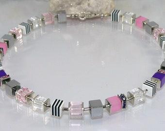 Necklace necklace, necklace, chain of cubes, glass cubes, polaris effect cubes, resin cubes, hematite cubes, rhinestones, silver, purple, pink, violet
