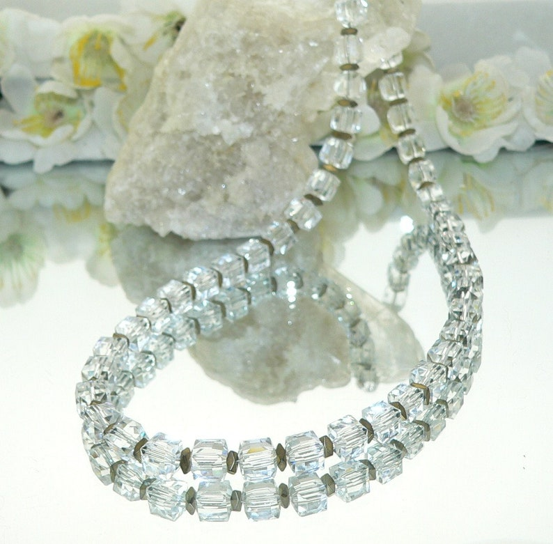 crystal glass cube cube necklace hematite spacer necklace necklace gold, Chain clear