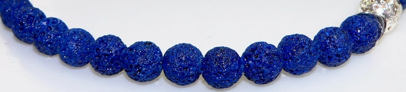 lampwork beads pearl necklace lava stones necklace dark blue blue light blue silver Chain necklace costume jewelry