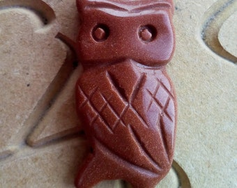 Brown Goldstone Carved Owl Reiki Charged Pendant Reiki Crystal Healing Pagan Wicca