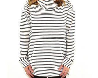 b80ceea3ee3a1 Plus Size Nursing Hoodie for Breastfeeding- Striped Nursing Sweatshirt- French  Terry Cotton