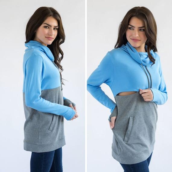 Nursing Clothes Colorblock- BlueGray Nursing Hoodie with Pockets Nursing Tops for Breastfeeding
