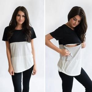 Milky Tee/® Maternity Nursing Top with Hidden Zips Plain Black - XS 100/% Cotton Breastfeeding T-shirt
