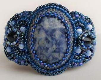 Shades of Blue Bead Embroidered Cuff Bracelet
