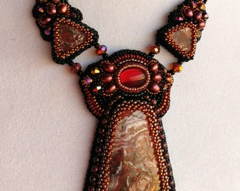 Red & Black Bead Embroidered Necklace with Crazy Lace Agate Stone