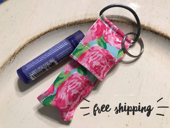 Flower themed Lip Balm Holder Keychain Lilly Pulitzer Inspired  d5f5cf02654e