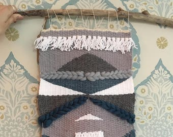 Woven Wall Hanging// Grey, white, teal