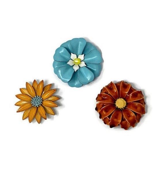 Retro Enamel Flower Brooch Pins:  Flower Power/60s
