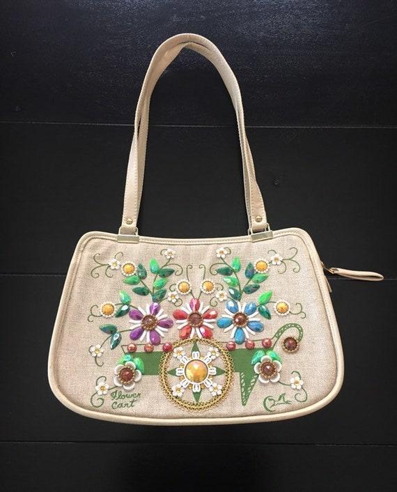 "Vintage Enid Collins ""Flower Cart"" Jeweled Handbag"