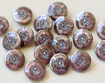 Small Painted Back Glass Buttons