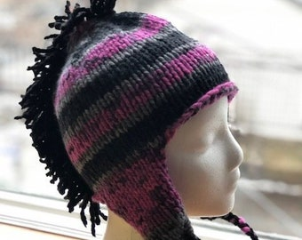 caeef6a72fc Hand knit winter hat with earflaps and mohawk
