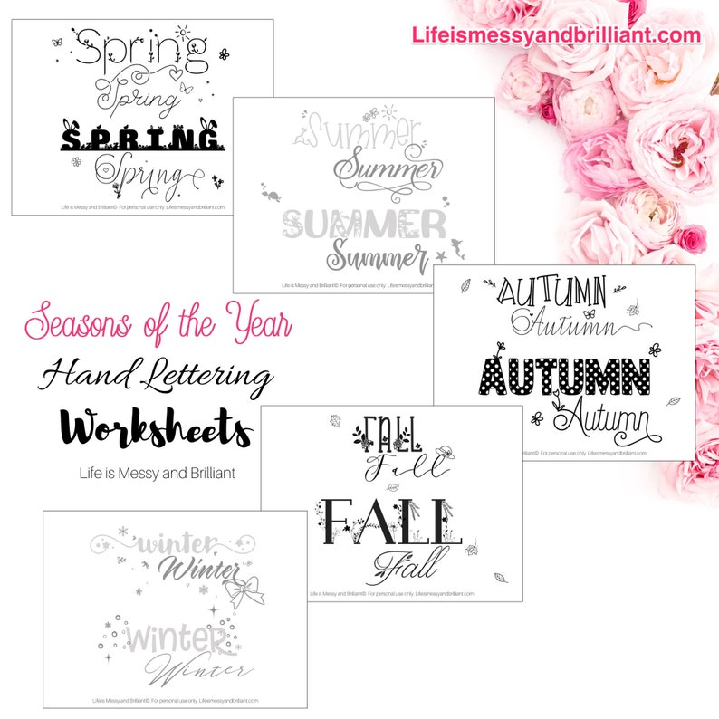 Hand Lettering Worksheets - Seasons of the Year Hand Lettering, Hand  Lettering iPad, Hand Lettering Print, Hand Lettering Practice