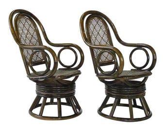 Mid Century Modern Paul Frankl Style Bent Rattan U0026 Wicker Swivel Armchairs,  Rattan Swiver Chairs, Mid Century Rattan Swivel Chairs
