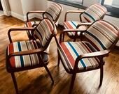 Set of 4 Mid Century Modern Knoll Chairs Designed by Don Pettit Circa 1970 39 s., Don Pettit Mahogany Chairs, Mid Century Modern Armchairs