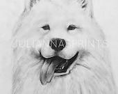 Items Similar To Print Samoyed Art Dog Portrait Puppy Drawing Dog