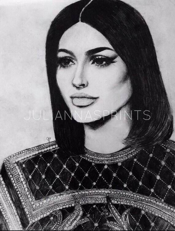 PRINT Kylie Jenner Art Print, Kim Kardashian Art, Kylie Jenner Drawing, Pop Culture Art, Kylie Jenner Poster, Fashion Art, Fashion Poster