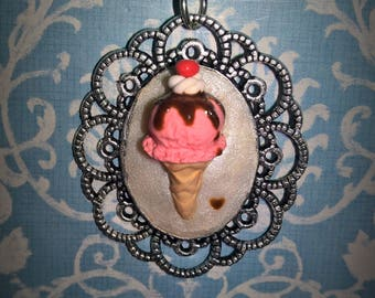 Raspberry Ice Cream Necklace