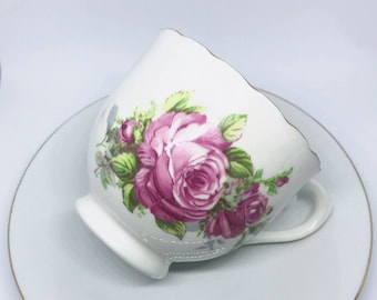 FREE SHIPPING - Antique Pink and Green Floral Tea Cup & Saucer