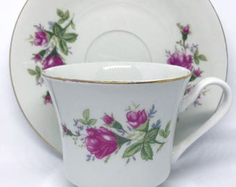 FREE SHIPPING -Antique Pink and Green Floral Tea Cup & Saucer