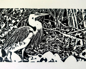 Heron, relief print, black and white, matted, 8x10, gift, housewarming, wall art, Linocut