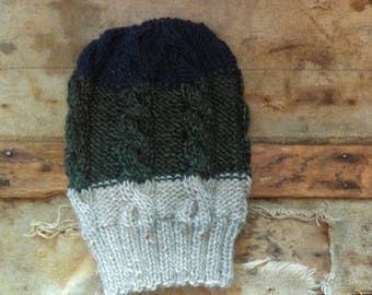 Tri-Colored Cable Knit Slouch Hat