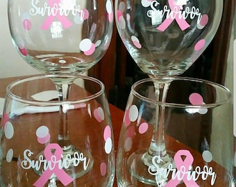 Breast Cancer Survivor Wine Glasses Breast Cancer Awareness Pink