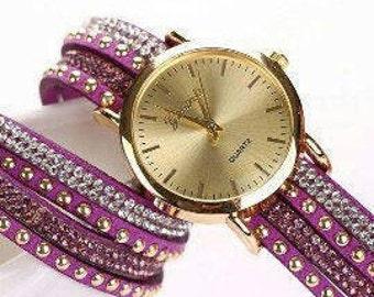 Woman Geneva Crystal Rivet Bracelet Winding Wrap Wrist Watch.