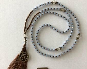 Genuine Blue Angelite beads  MALA necklace  108 beads