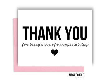 Thank You Card, Wedding Day Card