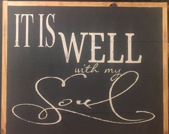 It is well with my soul - Pavement chalk paint, off-white painted lettering, framed.