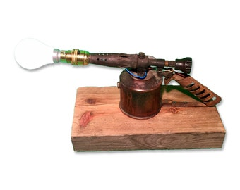 Lamp D Blow Torch on Wooden Base