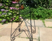 Vintage Garden Plant Stand Planter Basket Black Coated Iron Metal Indoor Outdoor Tall Plant Pot Scroll French Style Country Shabby Chic