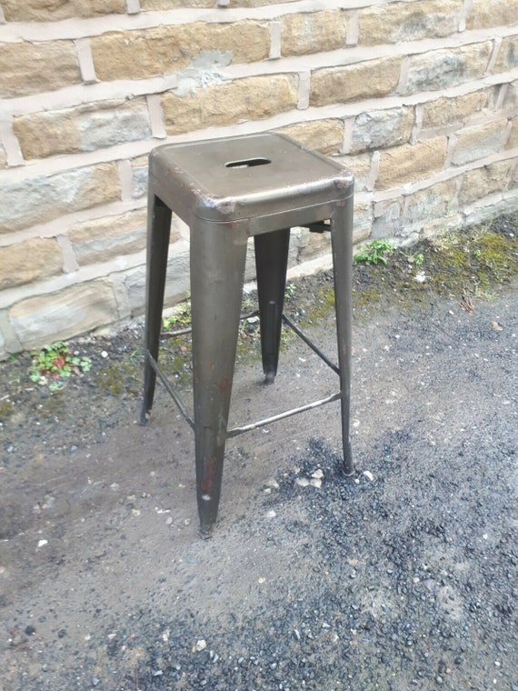 Surprising Vintage Retro Tolix Style Tall Breakfast Bar Stool Industrial Metal High Seat Kitchen Restaurant Utility Shabby Chic Grey Green Gold Old Ibusinesslaw Wood Chair Design Ideas Ibusinesslaworg