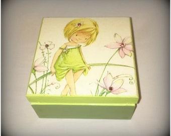 Wooden Box, Keepsake, Jewellery, Green and Pink