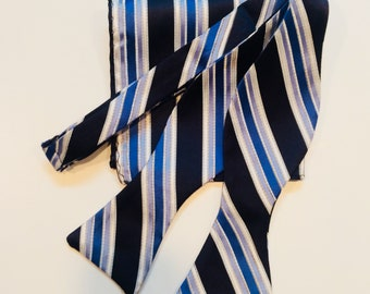 Multiple Blue self tie bow tie with pocket square