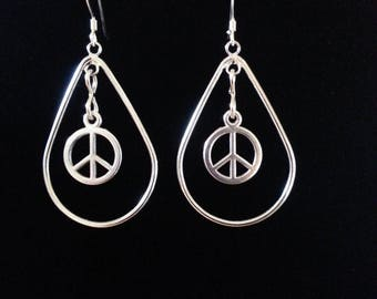 Dangle Teardrop Peace Earrings