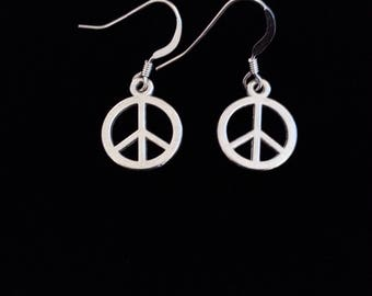 Peace Sign Earrings. Sterling Silver Wires