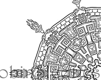 Aztec Coloring Page Instant Download JPEG And PDF Print To Frame Home Decor Art Therapy Relaxation Colouring Adults Gift For Her