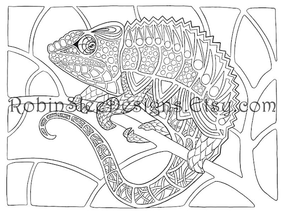 Chameleon Colouring Page Animal art coloring pages | Etsy