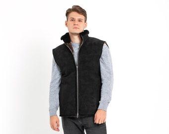 7e7bdd9bad25d3 Lammfell-Weste für Männer, handgemachte ärmellose Jacke, Geschenk, 100  Prozent Natur