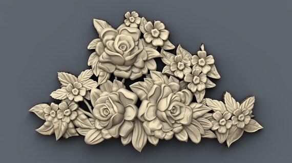 3d STL models for CNC relief Clock Roses Artcam Aspire