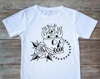 Skull shirt, church shirt, tattoo skull, tattoo shirt, classic tattoo art, old school shirt, hipster gift, gift for tattoo lovers, flowers