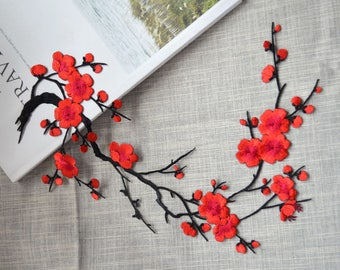 Red blossom flower patch ,Large cherry embroidered Iron-on patch ,Embroidered Sewing supplies. Blossom Applique