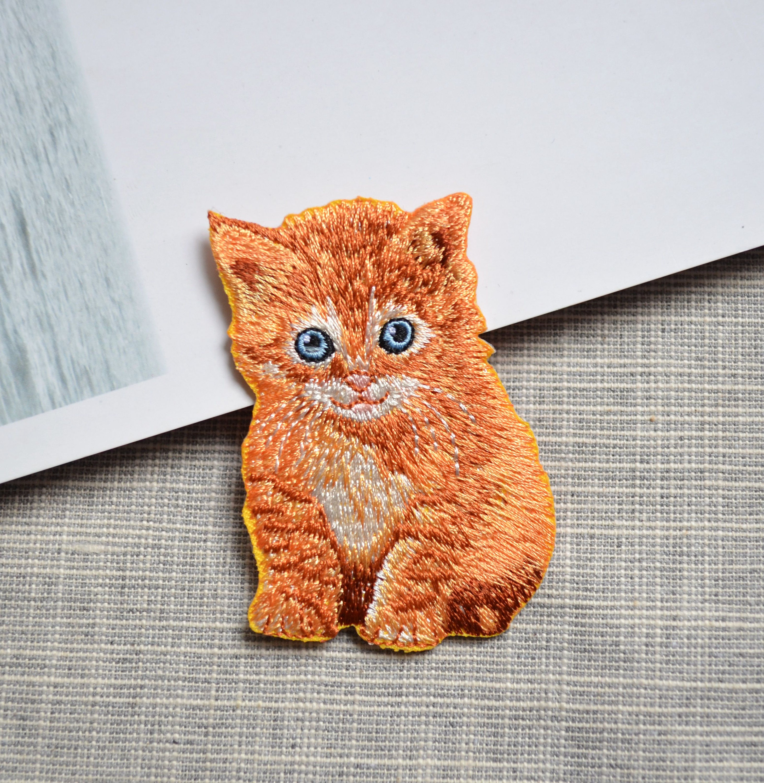 belle tache jaune de chat chat fer sur patch animal fer. Black Bedroom Furniture Sets. Home Design Ideas