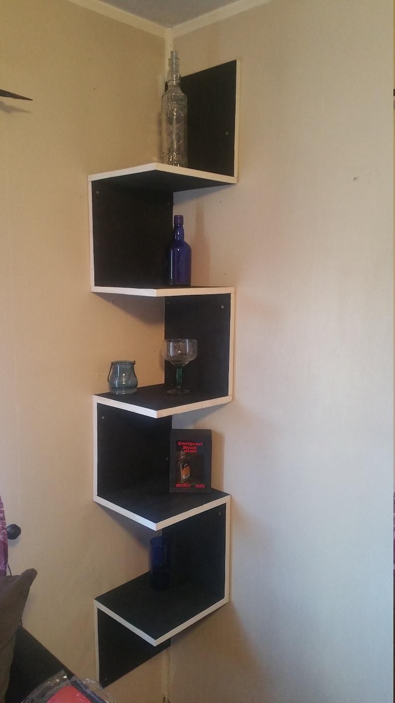 Black White Corner Shelf