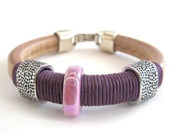 Ultra violet pantone, Bracelet ultra violet, Leather cuff bracelet, Violet cord bracelet, Purple bracelet, Bohemian bracelet