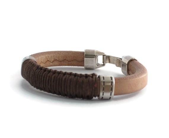 Silver and Leather Men/'s Bracelet Natural leather bracelet with brown macrame for men Modern cuff Bracelet Valentine\u2019s Day Gifts for Him
