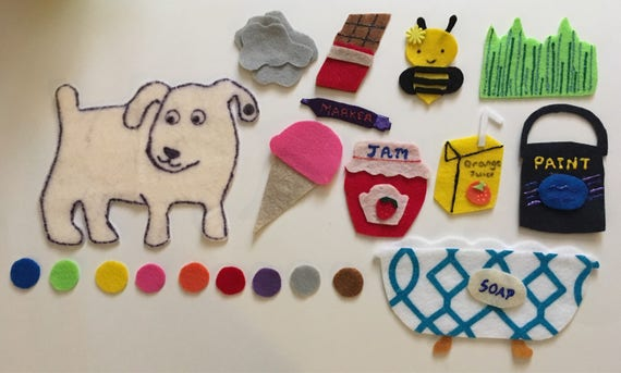 Dog S Colorful Day Felt Story Children S Felt Etsy