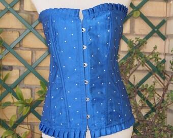 84ed54021ab Blue Corset Satin Overbust Corset Steampunk corset Glamour corset Blue  corset top Womens Lingerie
