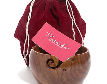 """Hagestad Wooden Yarn Bowl-7""""x4""""-Handmade from Sheesham Wood (Rosewood). Portable & Study. Perfect For Crochetting or Knitting"""